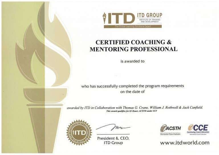 Chứng chỉ Certified Coaching & Mentoring Professional