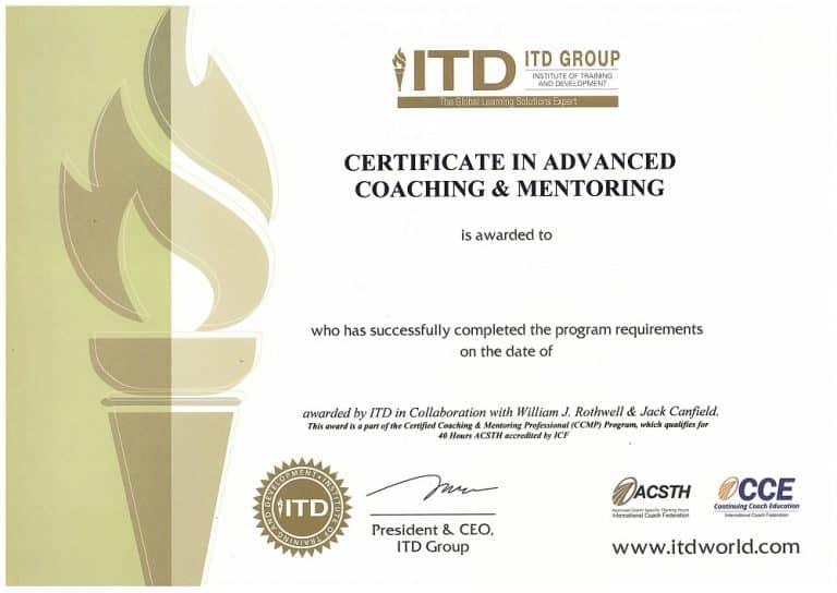 Chứng chỉ Certificate in Advanced Coaching & Mentoring